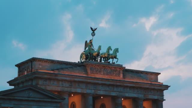 Quadriga statue on top of the Brandenburg Gate, Berlin, Germany