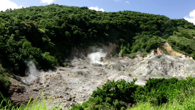 qualibou volcano in saint lucia - st lucia stock videos & royalty-free footage