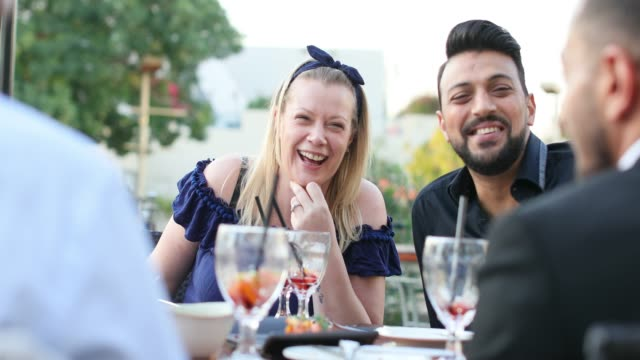 quality time over dine and wine at a rooftop restaurant with friends - brunch stock videos & royalty-free footage