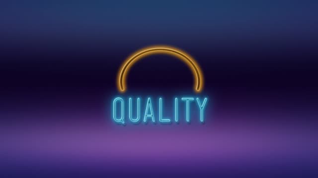 quality title written on neon light against purple and blue background in 4k resolution - quality stock videos & royalty-free footage