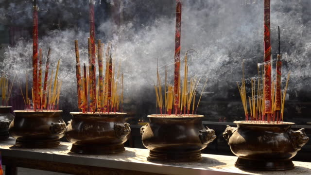 quan am buddhist pagoda, ho chi minh city, vietnam - incense stock videos & royalty-free footage