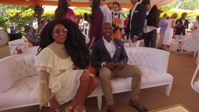 tk quan and guests at tenthannual veuve clicquot polo classic at liberty state park on june 03 2017 in jersey city new jersey - state park stock videos & royalty-free footage