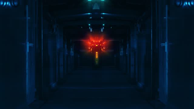 quantum mind system at the end of a corridor with a running light - vanishing point stock videos & royalty-free footage