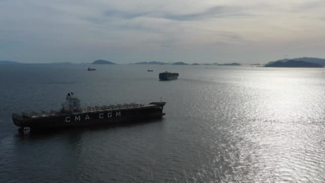 a quarantine order has been imposed on six different vessels anchored in the hong kong's waters after some of the crew members tested positive for... - anchored stock videos & royalty-free footage