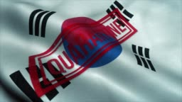 Quarantine stamp on the national flag of South Korea. Coronavirus concept