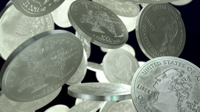 stockvideo's en b-roll-footage met u.s.a. quarter coins falling slowly full width - quarter