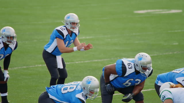 MS SLO MO. Quarterback calls play, takes snap, and hands off to running back in professional football game.
