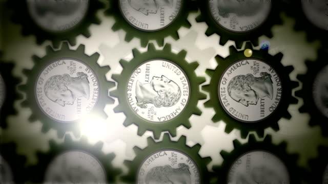 四半期のギア - 25セント硬貨点の映像素材/bロール