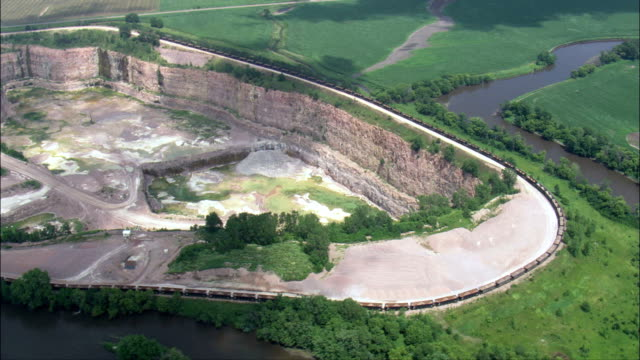 quartzite quarry  - aerial view - south dakota, minnehaha county, united states - south dakota stock videos and b-roll footage