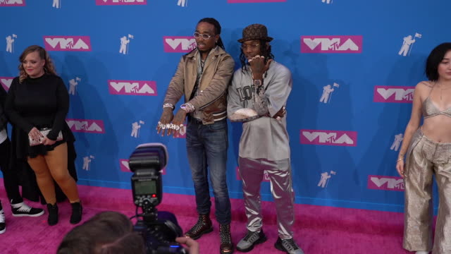 quavo and offset at 2018 mtv video music awards at radio city music hall on august 20, 2018 in new york city. - mtv video music awards stock videos & royalty-free footage