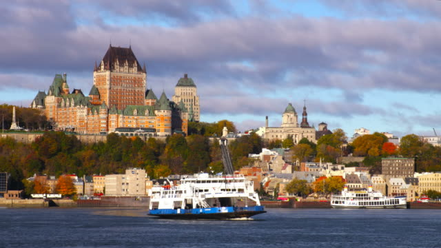 quebec city along the st lawrence river - canada video stock e b–roll