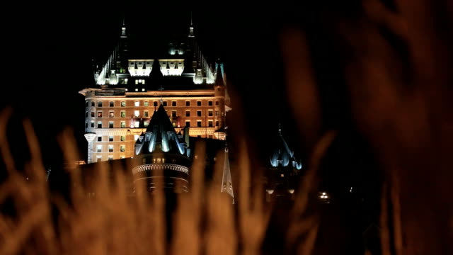 quebec city and chateau frontenac at night - castle stock videos & royalty-free footage