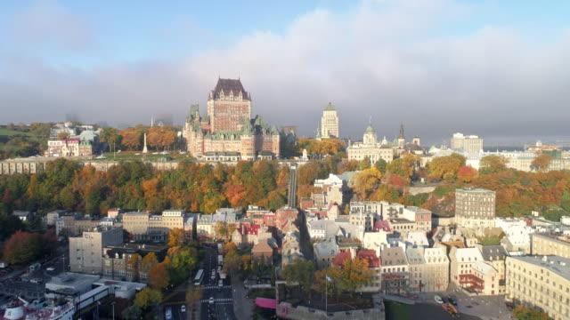 vídeos y material grabado en eventos de stock de quebec city and chateau frontenac (hotel) on autumn day - quebec