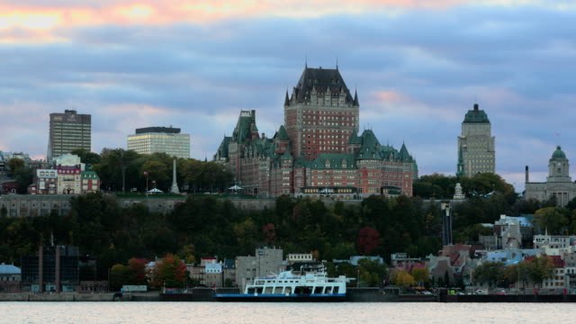 quebec city cityscape waterfront at sunset - fortress stock videos & royalty-free footage