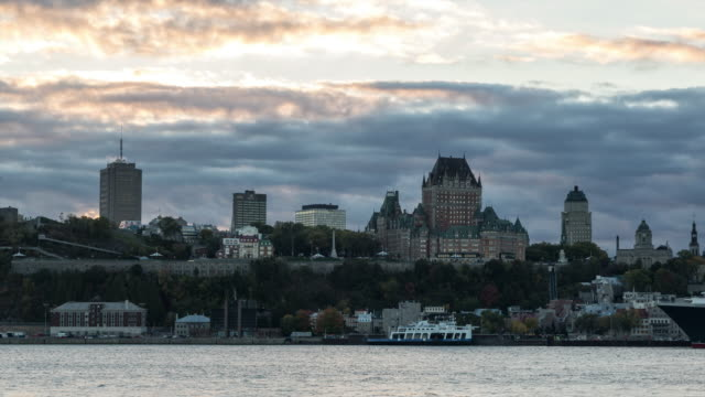 Quebec City Waterfront Time Lapse at Sunset
