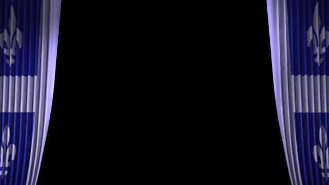ケベックの旗のカーテン文字が含まれています。 - ケベックの旗点の映像素材/bロール