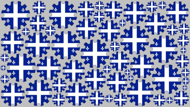 quebec flag gears spinning background - quebec flag stock videos & royalty-free footage