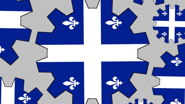 quebec flag gears spinning background zooming out - quebec flag stock videos & royalty-free footage