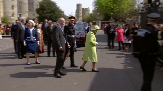 queen 90th windsor queen walkabout from1200pm band plays happy birthday as queen elizabeth ii speaks to members of public / - 90th birthday stock videos and b-roll footage