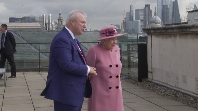 queen and duches of cambridge on roof terrace looking at the london skyline at the opening of king's college london bush house campus - the queen stock videos and b-roll footage