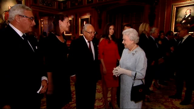 queen and duke of edinburgh host diamond jubilee pageant reception england berkshire windsor castle int guests waiting / queen elizabeth ii arriving... - alan titchmarsh stock-videos und b-roll-filmmaterial
