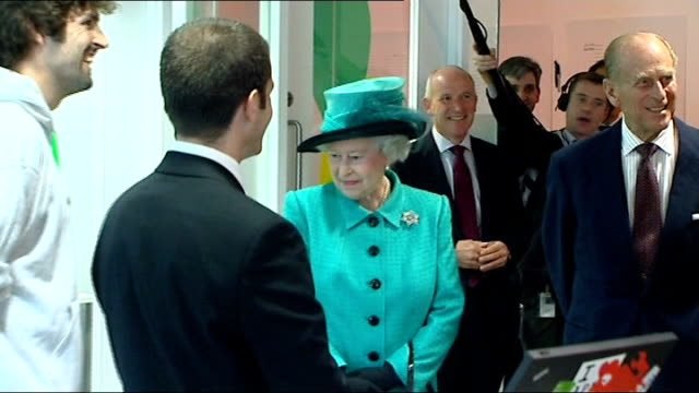 Queen and Duke of Edinburgh visit Google HQ in London ENGLAND London INT **flash photography throughout** Queen Elizabeth and Prince Philip the Duke...