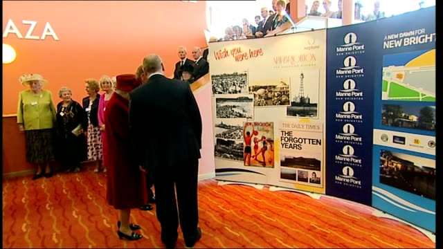 queen and duke of edinburgh visit the wirral; england: merseyside: the wirral: new brighton: ext queen elizabeth ii and prince philip, duke of... - choir stock videos & royalty-free footage