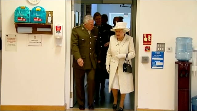 queen and duke visit to headley court / interiors england surrey headley court ext queen elizabeth ii and prince philip out of car and greeted by... - hydrotherapy stock videos & royalty-free footage