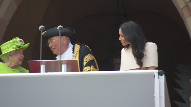 queen and meghan duchess of sussex on balcony of chester town hall, during visit to chester together - town hall stock videos & royalty-free footage