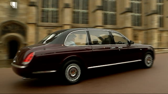 queen and members of the royal family attend an easter service at windsor castle england berkshire windsor windsor castle ext car carrying queen... - st. george's chapel stock videos and b-roll footage