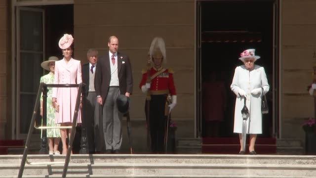 queen and other royals host buckingham palace garden party; england: london: buckingham palace: ext queen elizabeth ii along with prince andrew, duke... - sophie rhys jones, countess of wessex stock videos & royalty-free footage