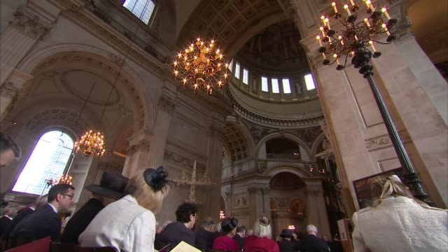 queen and philip attend order of the british empire centenary service at st paul's cathedral england london st paul's cathedral ext **music heard... - order of the british empire stock videos and b-roll footage