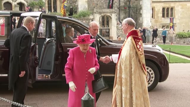 queen and prince philip arrive at st george's chapel for wedding of lady gabriella windsor to thomas kingston - prince philip stock videos & royalty-free footage