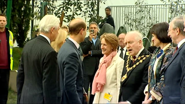 Queen and Prince Philip attend Chelsea Flower Show Prince Edward Earl of Wessex and his wife Sophie Countess of Wessex arriving shaking hands with...