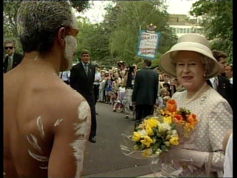queen and prince philip collection 3 t19030004 canberra uk pool queen arrival at church service with aborigine walkabout voxpops antirepublicans - collection stock videos and b-roll footage
