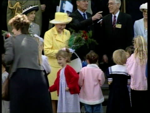 queen and prince philip collection 3 t23030008 melbourne arrival and voxpops republican protestor queen speech on immigrants with asians - collection stock videos & royalty-free footage