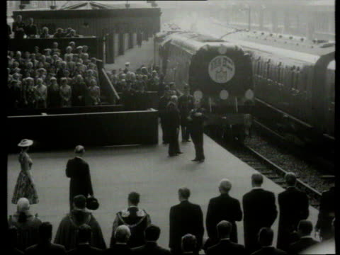 queen and prince philip collection 5 16756 train arrival greeted by queen elizabeth and prince philip - state visit stock videos and b-roll footage