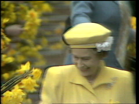queen and prince philip collection 7; 135656 21.4.86; the queen's 60th birthday. england: london: queen elizabeth ii dressed in yellow receiving... - queen's birthday stock videos & royalty-free footage