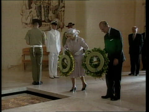 queen and prince philip collection 7 27300 australia tour continues canberra queen elizabeth ii and prince philip lay wreaths at world war 2 hall of... - queen elizabeth hall stock videos and b-roll footage