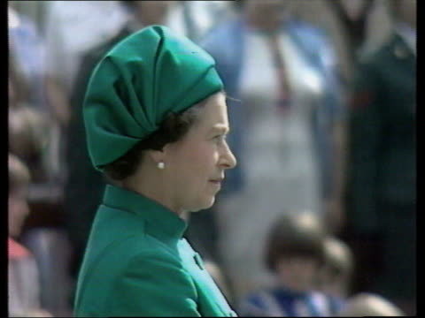 Queen and Prince Philip Collection 7 29777 Belfast Hillsborough Queen Elizabeth II side view in green outfit and hat