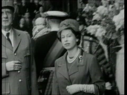 queen and prince philip collection 7 5460 french president charles de gaulle in uk london queen elizabeth ii chatting to de gaulle with prince philip... - charles de gaulle stock videos & royalty-free footage