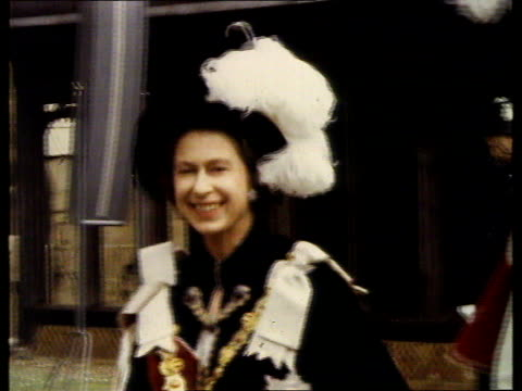 queen and prince philip collection 7 t15067001 1 windsor queen elizabeth ii and prince philip walking in royal order of the garter robes - parade stock videos & royalty-free footage