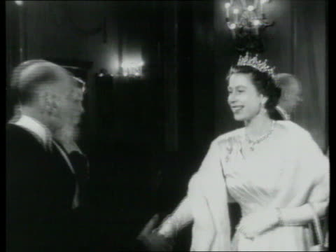 queen and prince philip collection 7; t23035601 23.3.56; queen at sadler's wells gala england: london: queen elizabeth ii in evening wear and tiara... - crown headwear stock videos & royalty-free footage