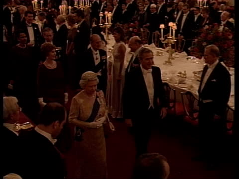 queen and prince philip collection 8; t19110304 us president george w. bush state visit to uk england: london: buckingham palace: queen & bush... - state dinner stock videos & royalty-free footage