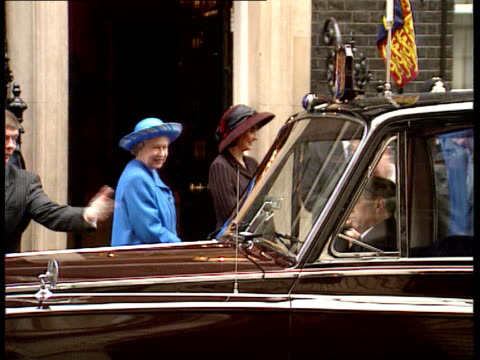golden wedding anniversary downing downing st ext tony and cherie blair greeting queen and prince philip on arrival at no 10 and all posing for... - 1997 stock videos & royalty-free footage