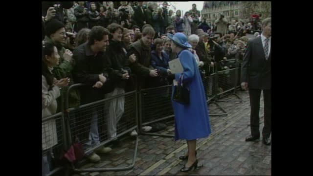 queen and prince philip: golden wedding anniversary: downing street walkabout; england: london: weastminster: ext various of queen elizabeth ii and... - flower stock videos & royalty-free footage
