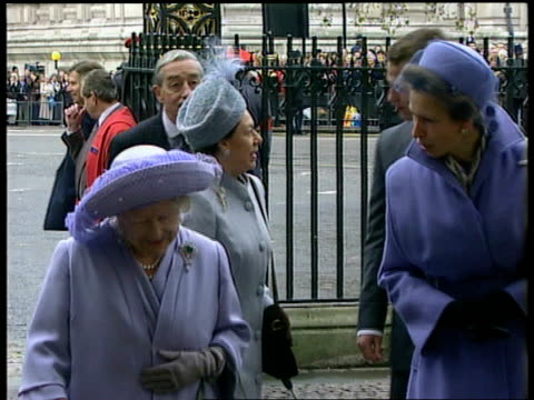 Golden wedding anniversary EXT Queen Mother Princess Royal and Princess Margaret arriving for service with son of Princess Anne Peter Phillips Car...