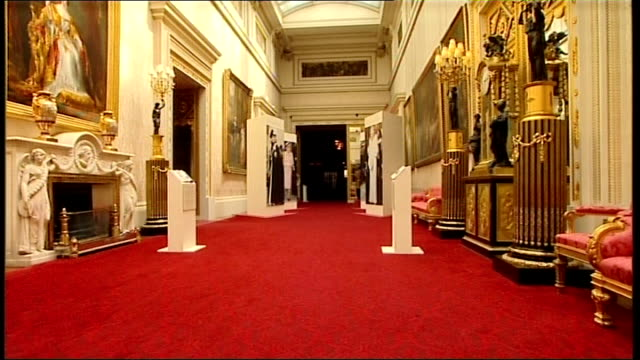 queen and prince philip preview a new exhibition at buckingham palace general view of exhibition hallway - buckingham palace stock videos & royalty-free footage