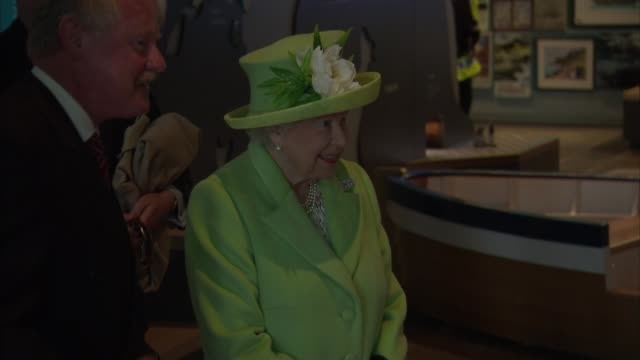 queen and prince philip visit giant's causeway queen watching / prince philip chatting to people in visitor's centre - causeway stock videos & royalty-free footage