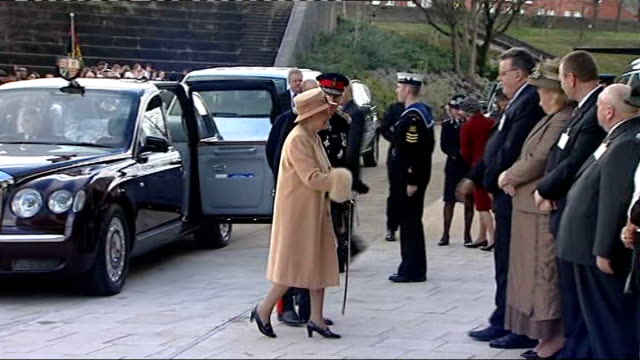 Queen and Prince Philip visit leisure centre in Swansea WALES Swansea EXT Crowd waiting as Royal car arrives and Queen and Prince Philip the Duke of...